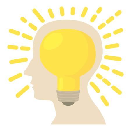Head with bulb icon, cartoon style