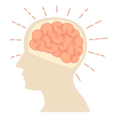 Head with brain icon, cartoon style