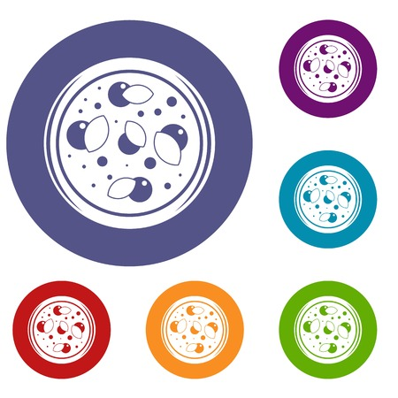 Pizza with greens icons set in flat circle red, blue and green color for web