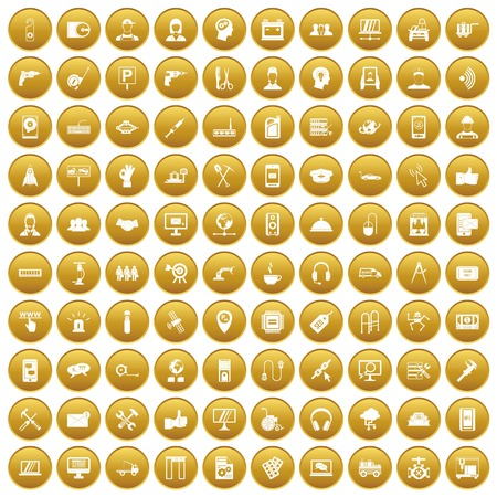 100 support center icons set in gold circle isolated on white vector illustration