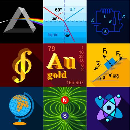Exact sciences icons set. Flat set of 9 exact sciences vector icons for web with long shadow
