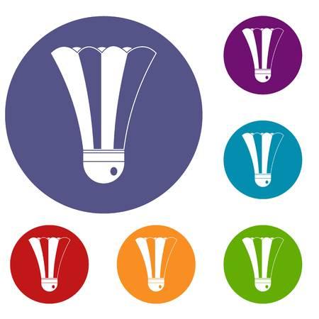 Black and white shuttlecock icons set Illustration