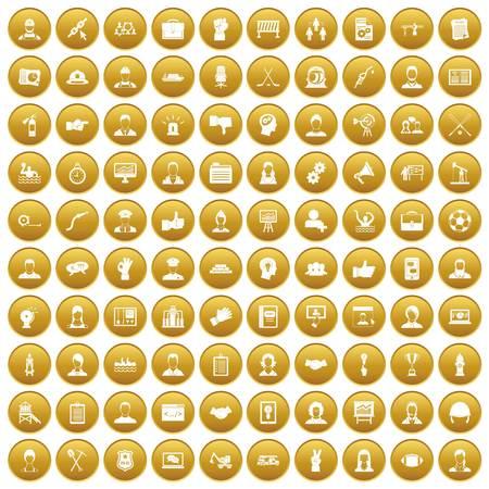 100 team work icons set gold