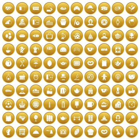 100 tea time food icons set gold