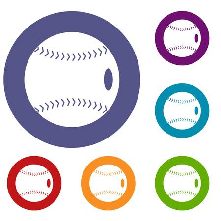Baseball ball icons set