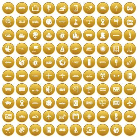 100 technology icons set gold Illustration