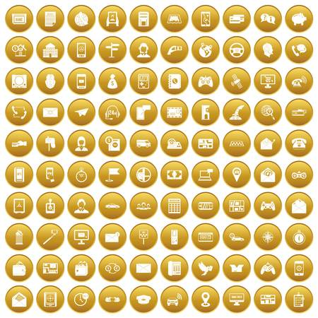 100 telephone icons set in gold circle isolated on white vector illustration