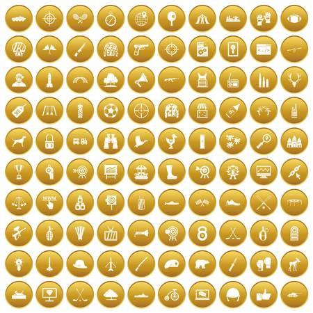 100 target icons set gold