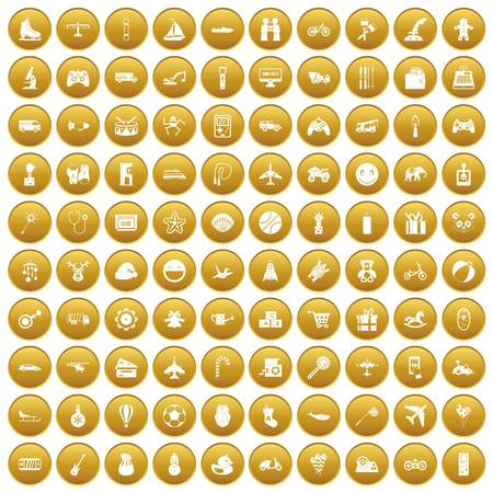 100 toys for kids icons set gold Illustration