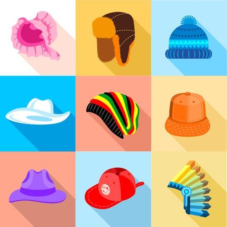 Headdress icons set, flat style