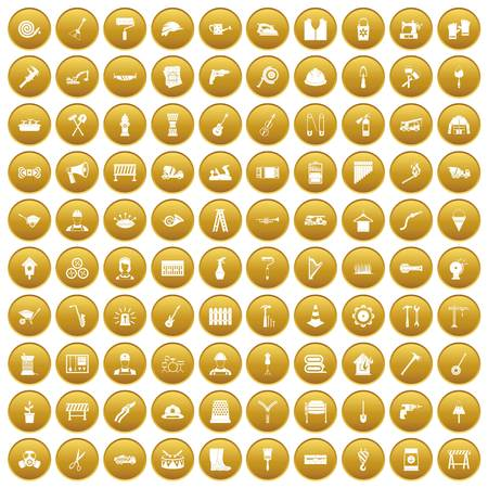 100 tools icons set in gold circle isolated on white vector illustration Illustration