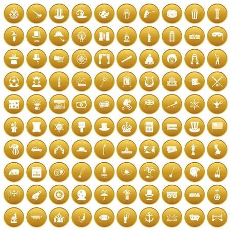 100 top hat icons set in gold circle isolated on white vector illustration Illustration