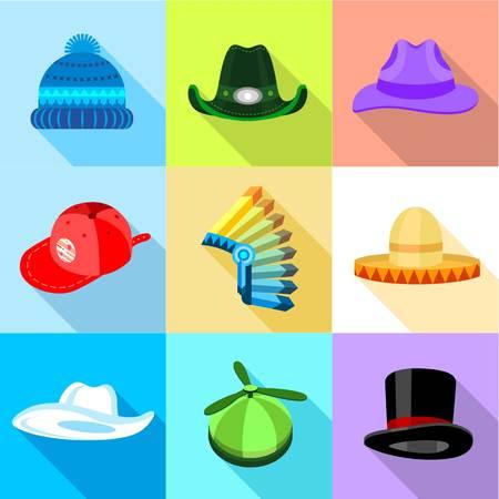 Hat icons set, flat style Illustration