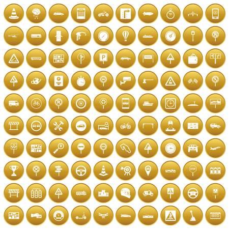 100 icone del traffico impostate oro Vettoriali