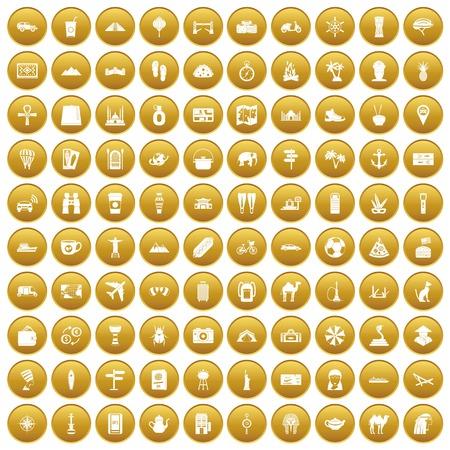 100 tourism icons set gold Illustration