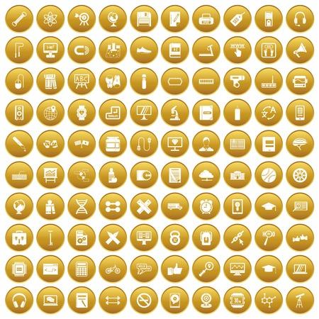bar magnet: 100 training icons set gold