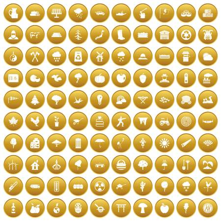 100 tree icons set gold