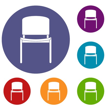 comfort classroom: Black office chair icons set