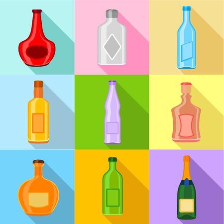 Empty bottles icons set, flat style Illustration