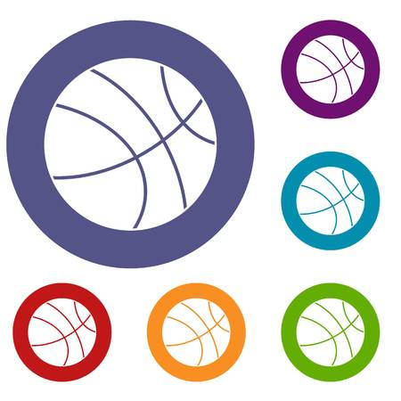 Basketball ball icons set in flat circle red, blue and green color for web