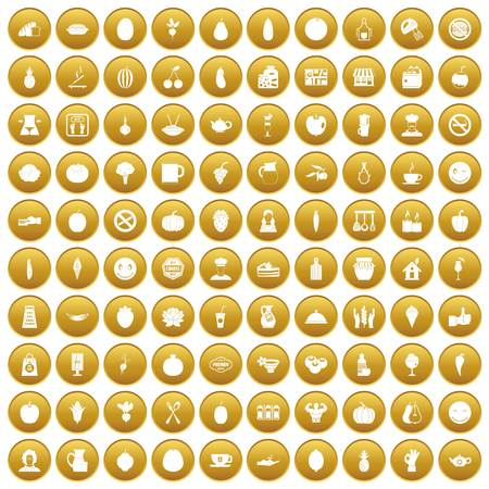 100 vegetarian cafe icons set gold