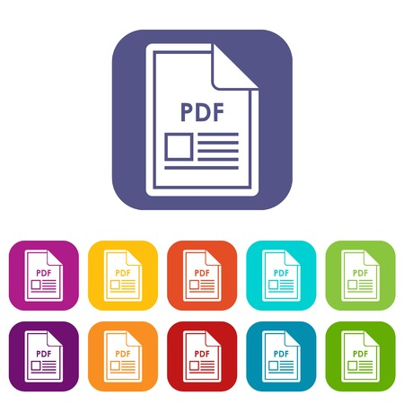 pdf: File PDF icons set Illustration