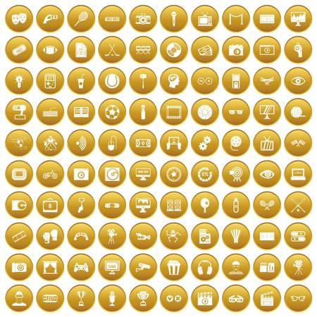 sharpness: 100 video icons set in gold circle isolated on white vector illustration