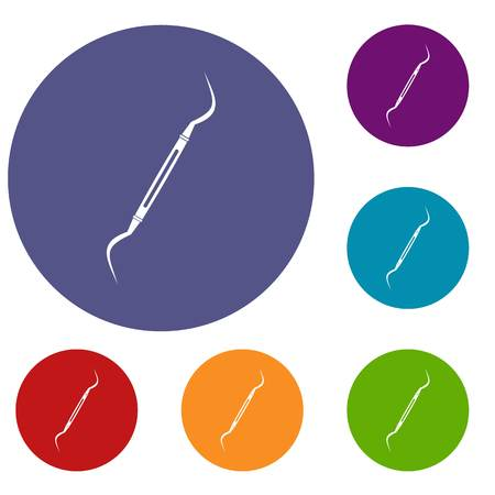 Dental instrument, probe icons set in flat circle red, blue and green color for web