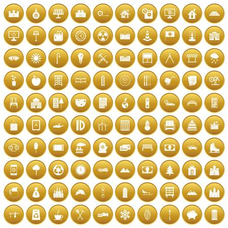100 villa icons set gold