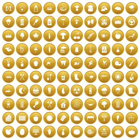 100 vegetables icons set in gold circle isolated on white vector illustration