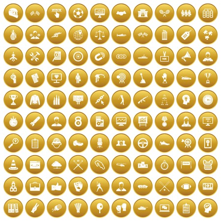 100 victory icons set in gold circle isolated on white vector illustration