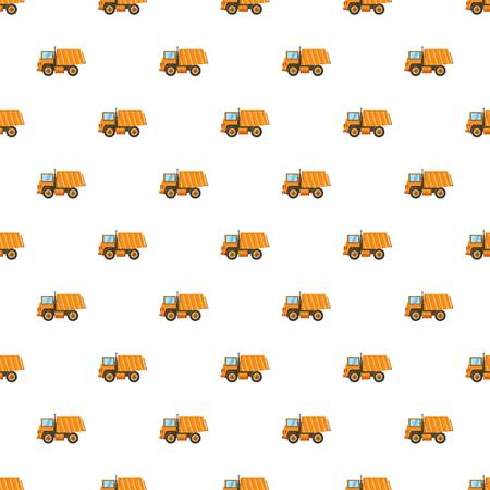 moving truck: Orange dump truck pattern seamless repeat in cartoon style vector illustration