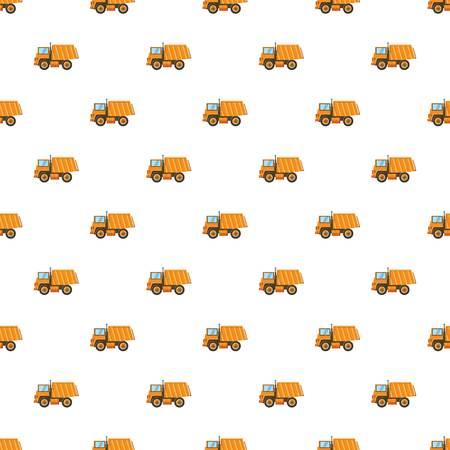 Orange dump truck pattern seamless repeat in cartoon style vector illustration