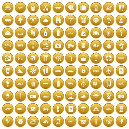 100 travel time icons set gold