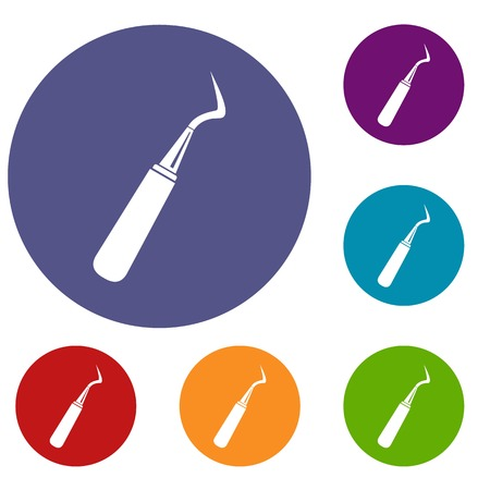 Dental probe icons set in flat circle red, blue and green color for web
