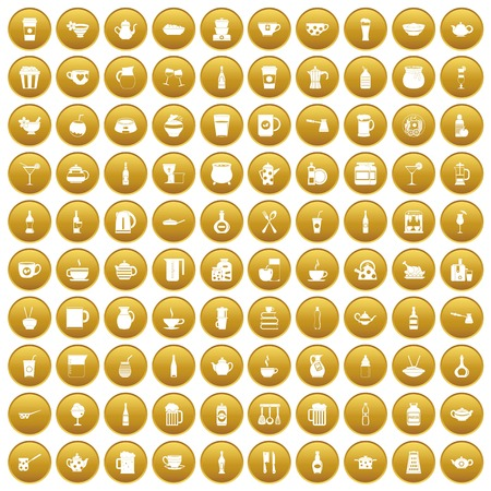 100 utensil icons set gold