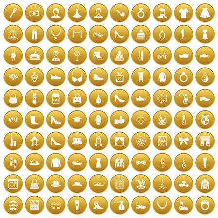 100 vogue icons set gold Illustration