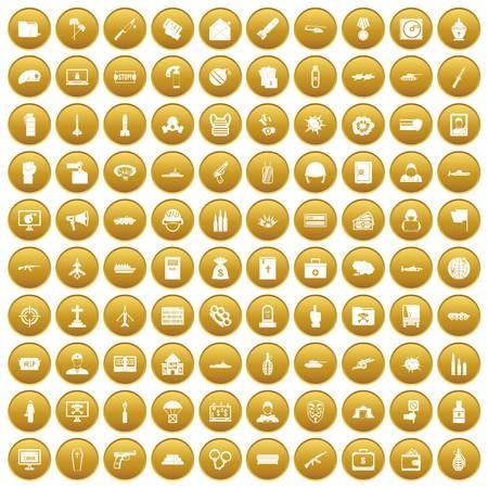 100 war icons set gold Illustration