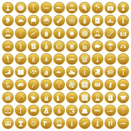 100 war crimes icons set gold