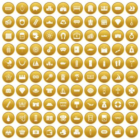 100 wealth icons set gold