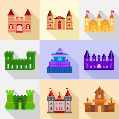 dome type: Types of fortress icons set, flat style Illustration