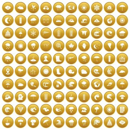 100 weather icons set gold Illustration