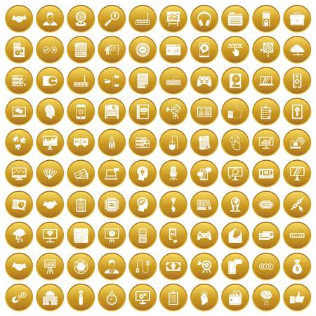 100 web development icons set gold Illustration