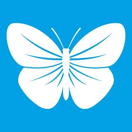 Black butterfly icon white. Vector illustration. Illustration
