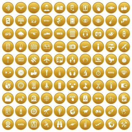 100 wireless technology icons set gold Illustration
