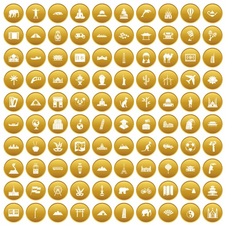 tibet: 100 world tour icons set in gold circle isolated on white vector illustration