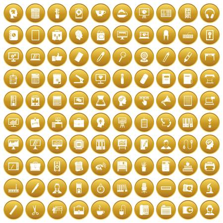 disk break: 100 work space icons set in gold circle isolated on white vector illustration