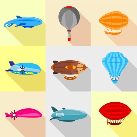 Types of airship icons set, flat style