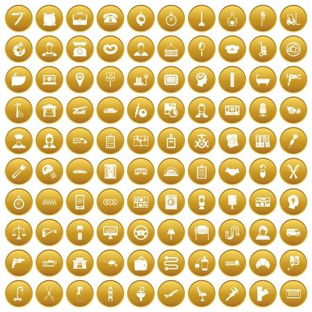 100 work icons set gold