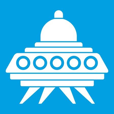 platillo volador: Alien spaceship icon white